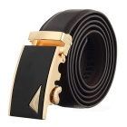 Men's Elegant Split Leather Belt w/ Triangle Pattern Automatic Buckle - Golden + Coffee