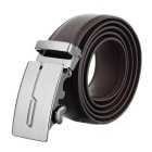 Men's Elegant Split Leather Belt w/ q-Pattern Zinc Alloy Automatic Buckle - Brown
