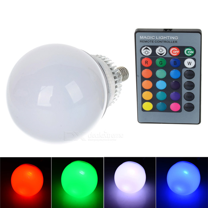 E14 10W 280lm RGB LED Dimmable Energy-saving Bulb w/ Remote Controller