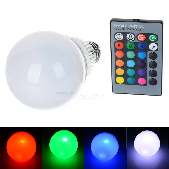E27 10W 280lm RGB LED Dimmable Energy-saving Lamp w/ Remote Controller