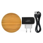 Universal Round Shaped Wireless Charger + 3-USB EU Plug Charger - Wood + Black