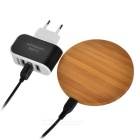 Universal Round Wireless Charger + 3-USB EU Plug Charger - Wood+Black