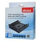 "Akasa-5.25"" Mounting Tray w/ USB 3.0 for 2.5"" & 3.5"" SSD / HDD - Black"