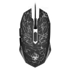 Wellrui R9 Laser Etching Cracks Stil USB 2.0 verdrahtete LED Gaming Mouse w / Gewicht Patrone - Schwarz