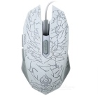 Wellrui R9 Laser Etching Cracks Stil USB 2.0 verdrahtete LED Gaming Mouse w / Gewicht Cartridge - Weiß