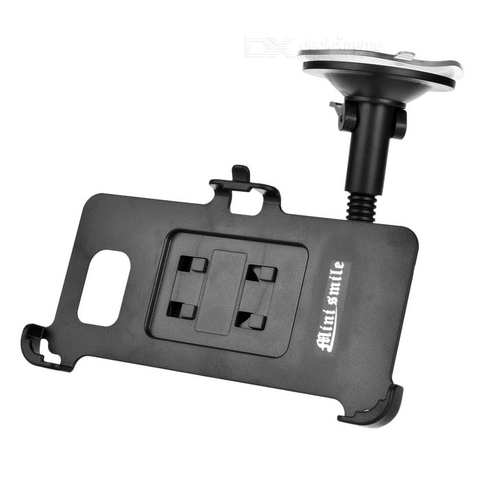 Flexible Neck Suction Cup Car Mount + Holder for Samsung Note5 - Black