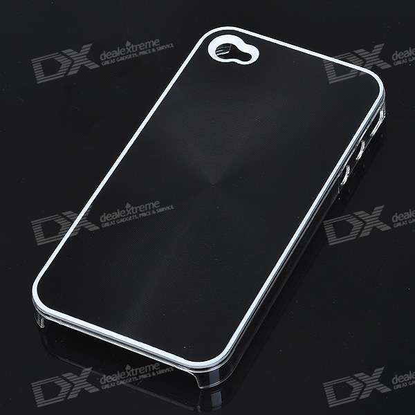 Protective Plastic Back Case with Spiral Pattern for Iphone 4 - Black