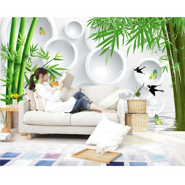 Bizhen 3d bamboo simple classic mural wallcovering free for Mural 3d simple
