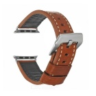 Italian Leather Watchband w/ Attachments + Screwdriver for Apple Watch 42mm - Brown + Silver