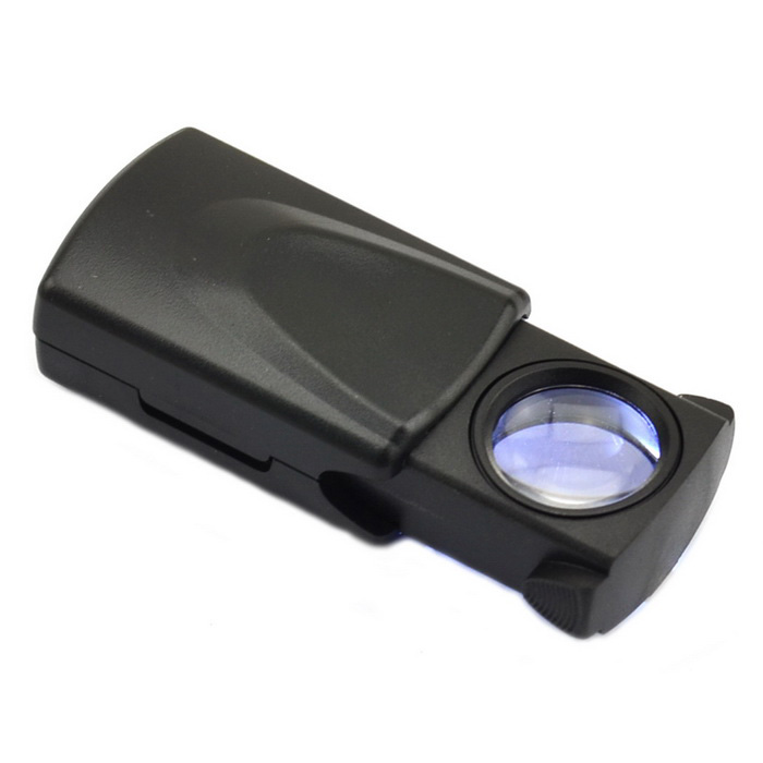 30X Pull-type Jewelry Magnifier with LED Light Source - Black