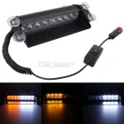 MZ 8W 8-LED Car Strobe Flash Warning Lamp 3-Flash Modes Adjustable White + Yellow Light (12V DC)