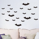 Halloween Bat Pattern PVC Wall Sticker Decal - Black
