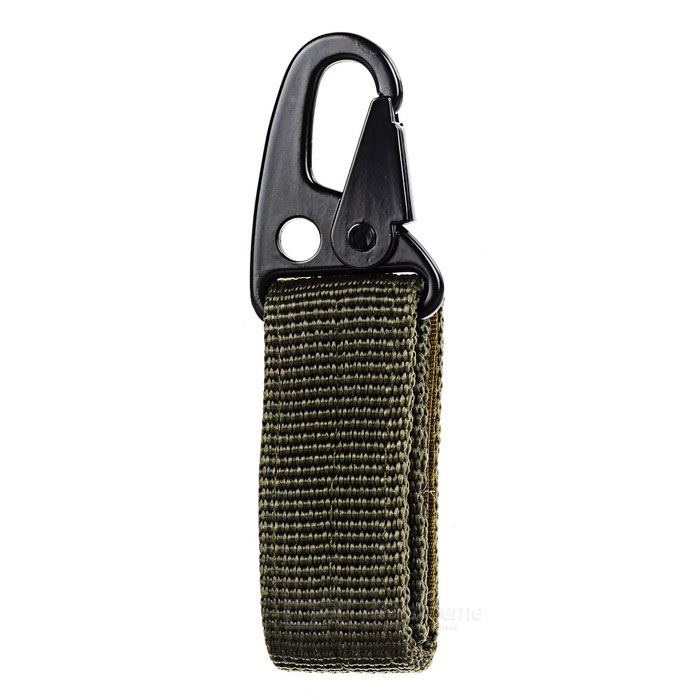 Outdoor Molle Belt Hook Buckle Carabiner w/ Key Ring - Army Green