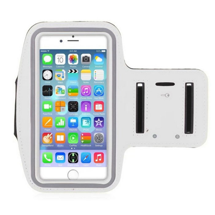 Double Buckle Sports Armband for IPHONE 6 Plus - White