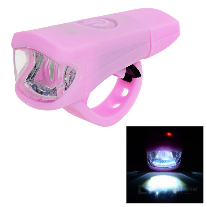 Leadbike A50 2-LED 100lm 2-Mode White Light Bike Lamp - Pink