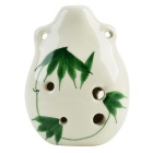 Bamboo Leaves Pattern 6-Hole C-Key Ocarina Musical Instrument - White + Green