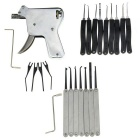 Manual Lock Training Gun Tool + Single Hooks + Lock Picks Tool Set