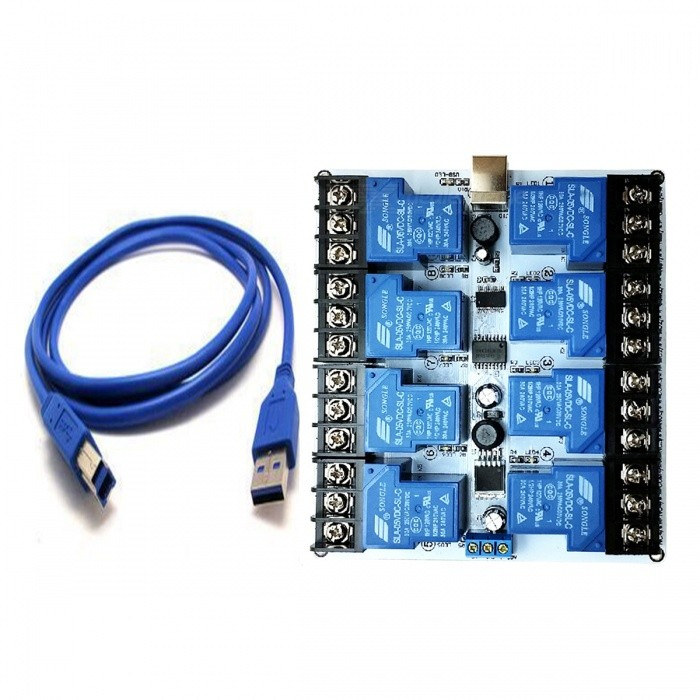 8 Channel 30a High Current Usb Relay Module Blue Free