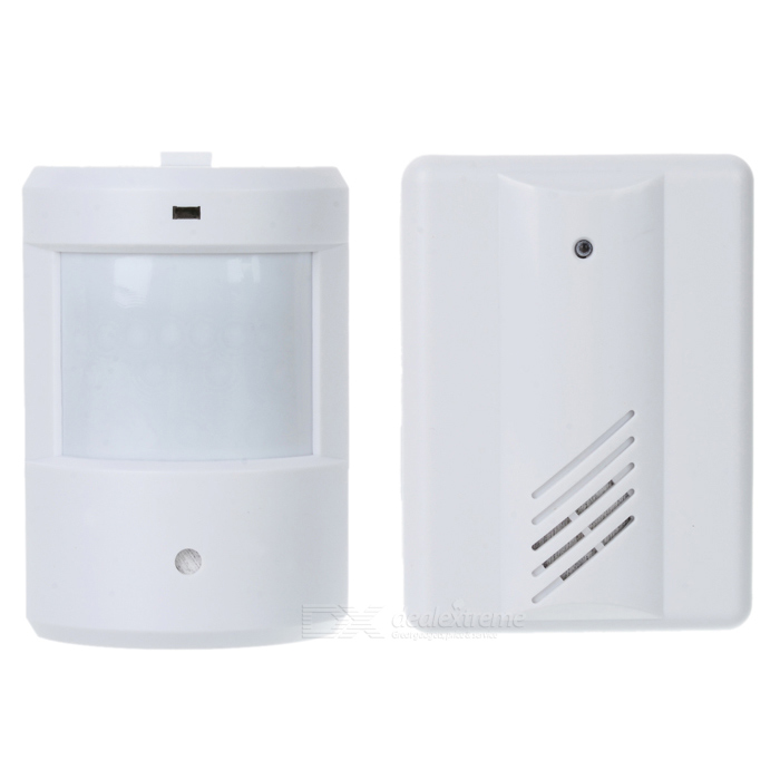 Motion Sensor Alarm Remote Detective Sensor + Receiver Set - White