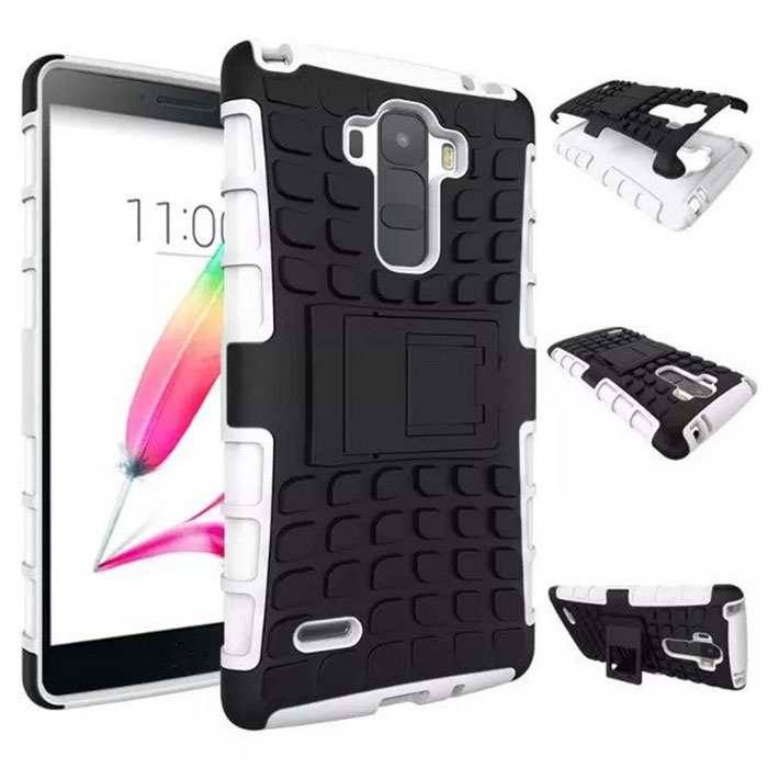 TPU + PC Heavy Duty Armor Back Case w/ Stand for LG G4 F500 - White