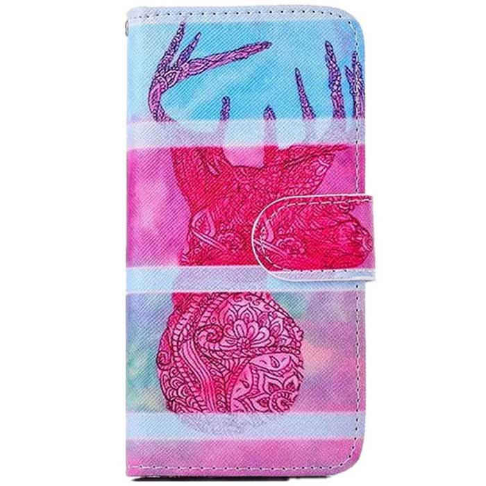 Painting TPU Case w/ Stand / Card Slots for IPHONE 6 PLUS- Pink + Blue