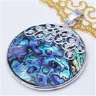 Trendy Silver Plated Abalone Shell Pendant - Round
