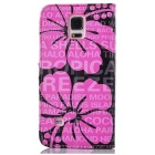 Flower Pattern TPU Case w/ Stand for Samsung NOTE 4 - Pink + Black