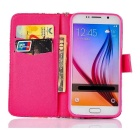 Flip-Open TPU Case w/ Stand / Card Slots for Samsung S6 - Pink + Black