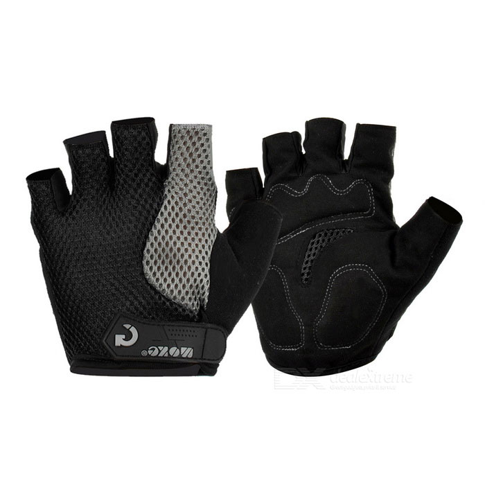 MOke Cycling Sweat-Absorbing Half-Finger Gloves - Black (L)Gloves<br>Form ColorBlackSizeLQuantity2 DX.PCM.Model.AttributeModel.UnitMaterialFiber mesh cloth + suedeTypeHalf-Finger GlovesSuitable forAdultsGenderUnisexBest UseCyclingOther FeaturesSuitable for palm width: about 8.5cmPacking List1 x Pair of gloves<br>