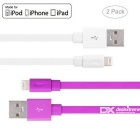 Yellowknife MFi 8pin Lightning to USB Cable for IPHONE 6 / 6S PLUS - White + Purple (2 PCS / 1m)