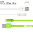Relâmpago do mfi do yellowknife 8pin ao cabo do USB - branco + verde (2PCS, 1m)