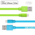 Yellowknife MFi 8pin Lightning to USB Cable for IPHONE 6 / 6S PLUS - Blue + Green (2 PCS / 1m)