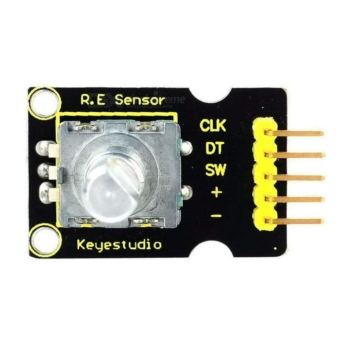 Keyestudior Rotary Encode Module for Arduino - BlackSensors<br>Form ColorBlackModelNoQuantity1 DX.PCM.Model.AttributeModel.UnitMaterialFR4ApplicationArduino learningWorking Voltage   5 DX.PCM.Model.AttributeModel.UnitEnglish Manual / SpecNoDownload Link   http://app.box.com/s/7eezryoo1tjcuqqe17e2d7boio5rbvilOther FeaturesPower Supply: 5V; Interface: Digital.Packing List1 x Keyestudior Rotary Encode Module for Arduino<br>