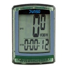 "JUNSD 7-Function Water Resistant Wired 1.5"" Screen Bike Computer - Transparent Green (1 x CR2032)"