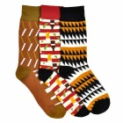 Men's Fashionable Multi Stripe Pattern Cotton Socks (3 Pair)