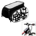 "B-SOUL Water-Resistant Bike Top Tube Saddle Bag w/ Touch Screen Case for 5.5"" Phone - Black + White"