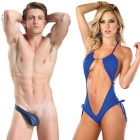 Sexy Hollow Halter One-Piece Lingerie + Unilateral Thong Briefs Underwear Set for Lovers - Blue