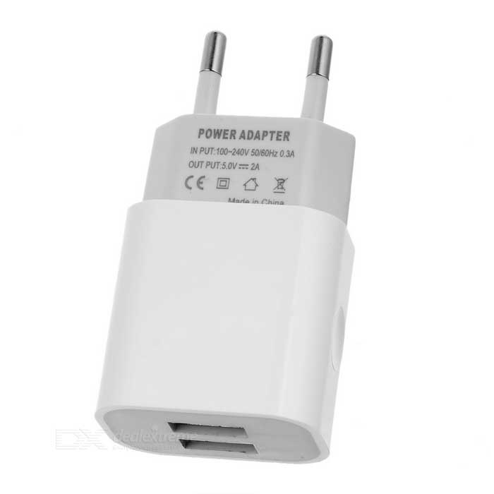Dual USB 5V 2A EU Plug Power Charger for Phone / Tablet + More - White