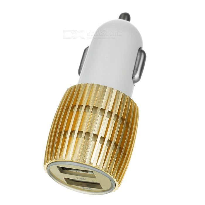 Mini 2*USB Car Charger for Phone, Tablet, USB Devices - White + Gold