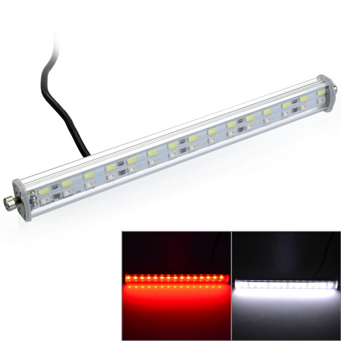 Marsing 18W White + Red 30-LED Car License Light for Braking (2PCS)