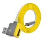 Micro USB to USB 2.0 Male & Female Flat Charging & Data Sync Cable for Samsung / HTC & More - Yellow