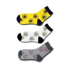 Weather Sunshine Pattern Breathable Short Socks - Grey + Yellow + White (3 Pairs)