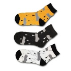 Weather Rainy Pattern Breathable Short Socks - Black + Yellow + White (3 Pairs)