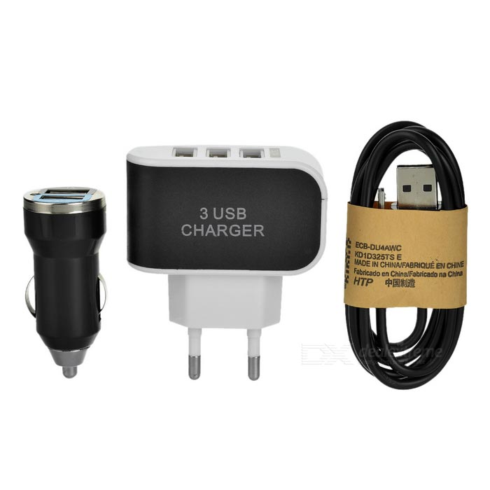 3-USB Fast Charger + Dual USB Car Charger + Micro USB Cable - Black