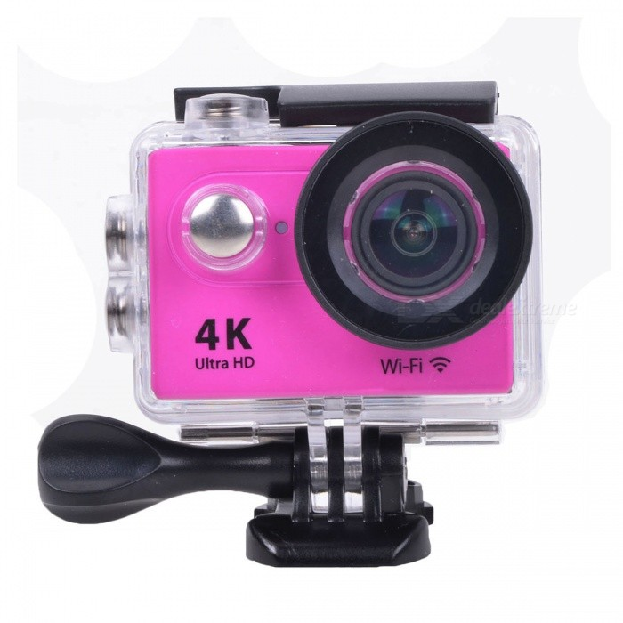 EOSCN H9 2 12MP 4K Wi-Fi Sports Camera w/ Fish-eye Lens - PinkSport Cameras<br>Form  ColorPinkShade Of ColorPinkMaterialABSQuantity1 DX.PCM.Model.AttributeModel.UnitImage SensorCMOSImage Sensor Size2/3 inchesAnti-ShakeYesFocal DistanceNo DX.PCM.Model.AttributeModel.UnitFocusing RangeNoOptical ZoomNoDigital ZoomOthersBuilt-in SpeedliteNoSpeedlite RangeNoApertureNoAperture RangeNoWide Angle6G HD 170° Ultra-wide Fish-eye LensEffective Pixels12.0 MPImagesJPGStill Image Resolution12M / 8M / 5M / 4MVideoMOVVideo Resolution4k @25fps; 2.7k @30fps; 1080p @60/30 fps; 720p @120fpsVideo Frame Rate25,30,60,120,10Audio SystemStereoCycle RecordYesISONoExposure Compensation-2;-1.7;-1.3;-1;-0.7;-0.3;0;+0.3;+0.7;+1;+1.3;+1.7;+2.0Scene ModeAutoWhite Balance ModeAutoSupports Card TypeTFSupports Max. Capacity32 DX.PCM.Model.AttributeModel.UnitBuilt-in Memory / RAMNoOutput InterfaceMicro USB,Micro HDMILCD ScreenYesScreen TypeTFTScreen Size2 DX.PCM.Model.AttributeModel.UnitBattery Measured Capacity 1050 DX.PCM.Model.AttributeModel.UnitNominal Capacity1050 DX.PCM.Model.AttributeModel.UnitBattery TypeLi-ion batteryBattery included or notYesBattery Quantity1 DX.PCM.Model.AttributeModel.UnitVoltage3.7 DX.PCM.Model.AttributeModel.UnitBattery Charging TimeAbout 3 hoursLow Battery AlertsYesWater ResistantWater Resistant 3 ATM or 30 m. Suitable for everyday use. Splash/rain resistant. Not suitable for showering, bathing, swimming, snorkelling, water related work and fishing.Supported LanguagesEnglish,Traditional Chinese,Russian,Portuguese,Spanish,Italian,Korean,French,German,Others,Dutch, Polski, Japanese, ThaiCertificationCEPacking List1 x Wi-Fi Sports camera1 x Waterproof housing1 x Protective back case1 x Handle bar / pole mount2 x Helmet bases 1 x Mount A1 x Mount B1 x Mount C1 x Mount D1 x Mount E1 x Mount F1 x Mount G1 x Clip A1 x Clip B2 x Bandages (36cm)  2 x Velcro straps (20cm)2 x Adhesive tapes4 x Cable ties1 x Lens cloth1 x Charger (EU plug; Input: 100~240V; Output: 5V, 1A)1 x USB Cable (60cm)1 x Li-ion Battery (3.7V, 900mAh)1 x English user manual<br>