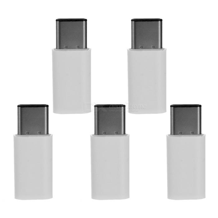 USB3.1 Type-C Male to 5pin Female Extension Adapters - White (5PCS)