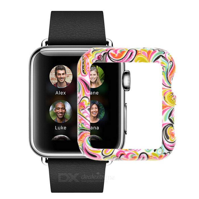 Funda de plástico para Apple reloj 42mm - blanco + patrón multicolor
