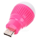 USB White Light Energy Saving Night Lamp Bulb - White + Deep Pink