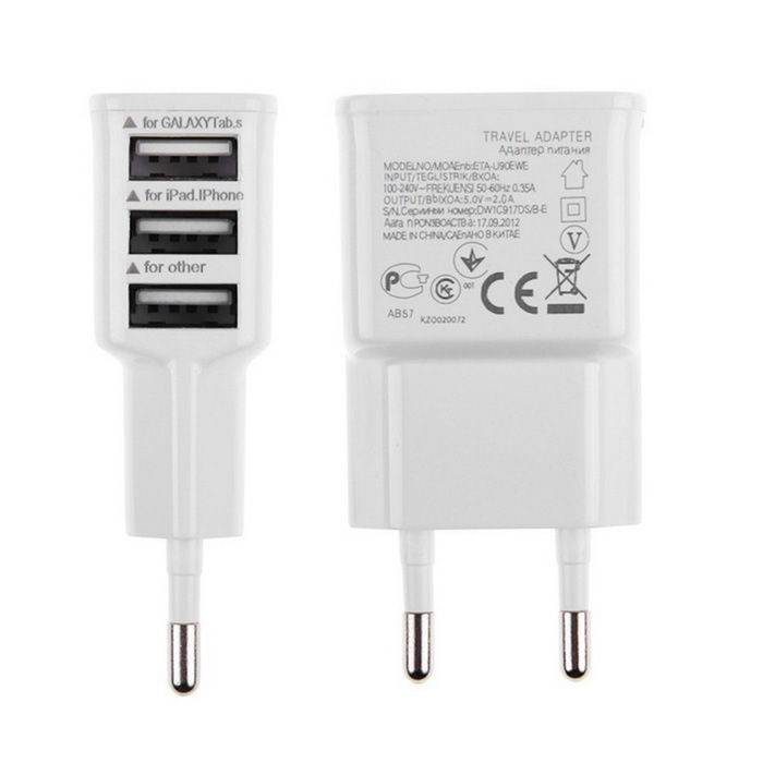 EU Plug 3-USB AC Charger for Samsung S5 Note 4 / LG - White (2PCS)AC Chargers<br>Form ColorWhiteModelN/AMaterialPlasticQuantity2 DX.PCM.Model.AttributeModel.UnitCompatible ModelsHTC, Samsung, Motorola, Nokia, Sony-Ericsson, LG ectInput Voltage100-240 DX.PCM.Model.AttributeModel.UnitOutput Current2 DX.PCM.Model.AttributeModel.UnitOutput Voltage5 DX.PCM.Model.AttributeModel.UnitPower AdapterEU PlugPacking List2 x EU Plug 3 USB Wall Charger<br>