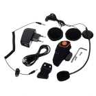 Bluetooth 3.0 Motorcycle Helmet Intercom w/ Music, FM - Black + Orange
